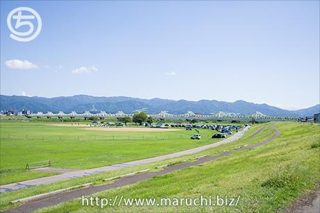まるちimage写真素材 九月 長生橋と山